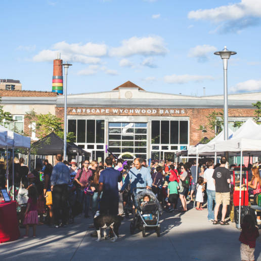 Exterior of Artscape Wychwood Barns during Farmers Market
