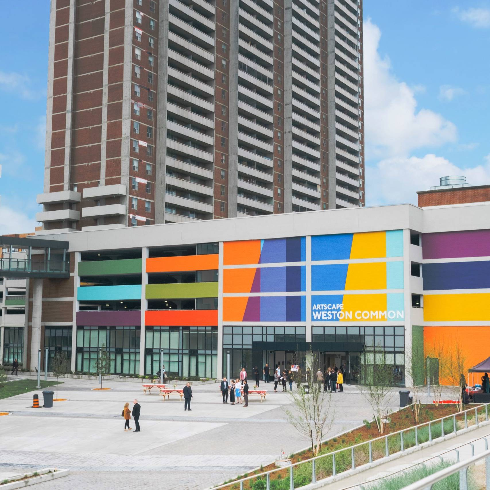 Exterior of Artscape Weston Common with people gathered